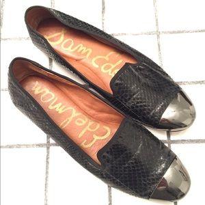 SAM EDELMAN snakeskin cap toe ballet flats 6.5 M